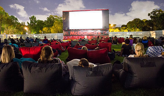 Patrons at the Curtin Community Outdoor Cinema