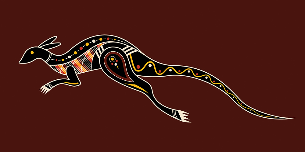 Kangaroo Aboriginal art style - play video