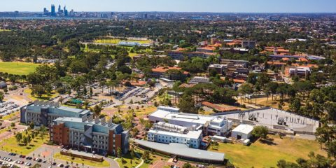 Aerial view of Curtin Perth