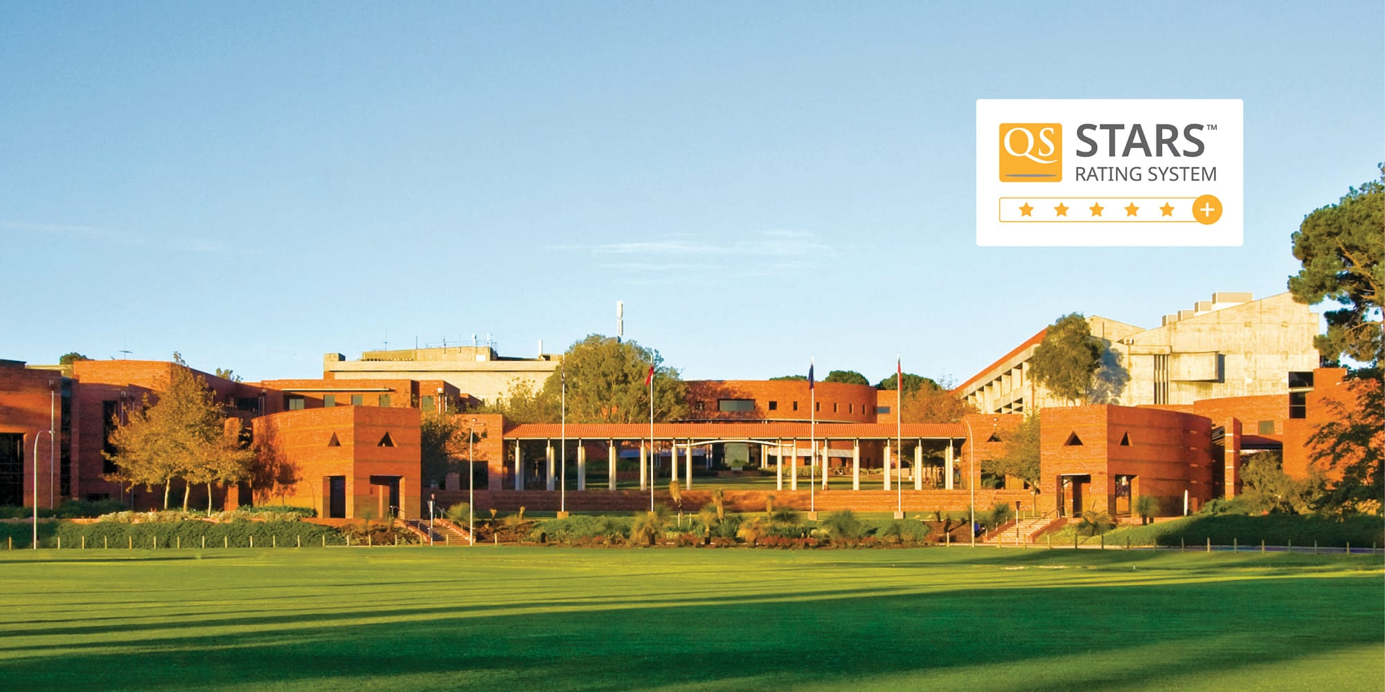 Curtin campus with the QS 5 star logo overlaid